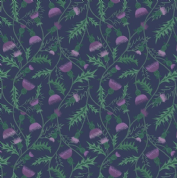 Lewis & Irene - Celtic Coorie - 6778 - Floral, All Over Thistle on Navy - A415.3 - Cotton Fabric